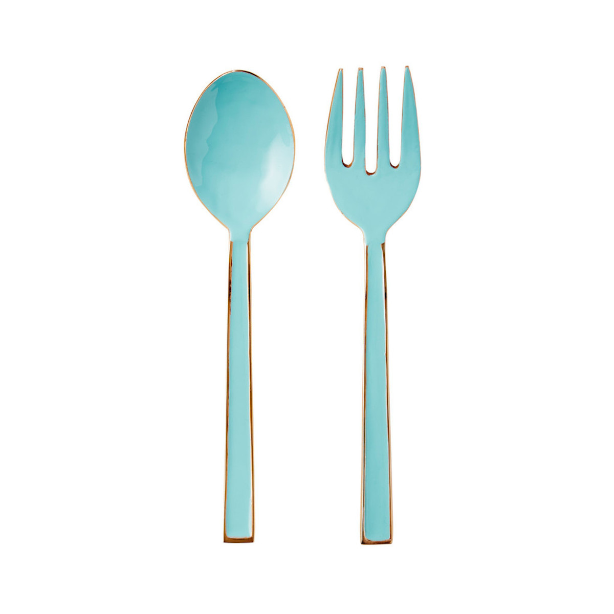 Teal and Rose Gold Salad Servers