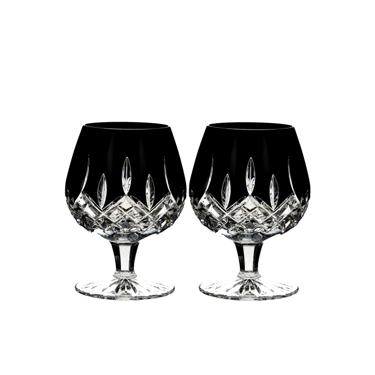 Lismore Black Brandy Glasses