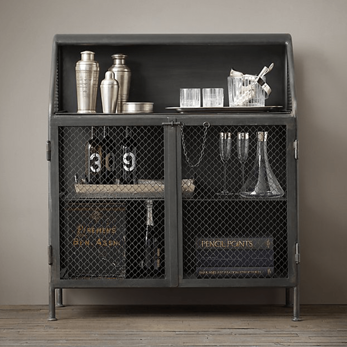 French Factory Bar Cabinet