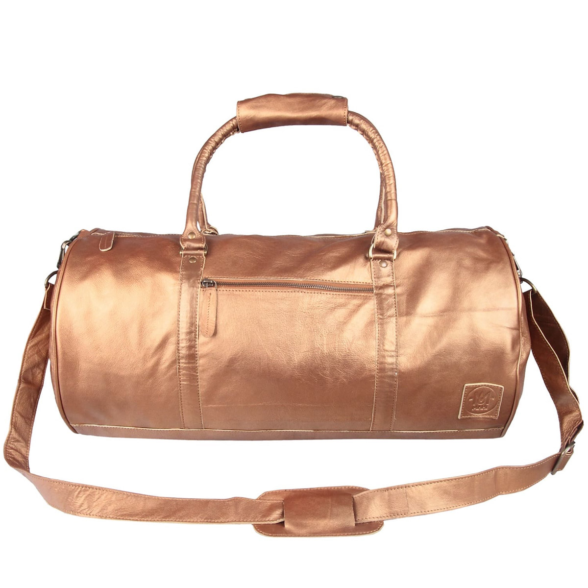 Overnighter / Gym bag in Bronze Leather