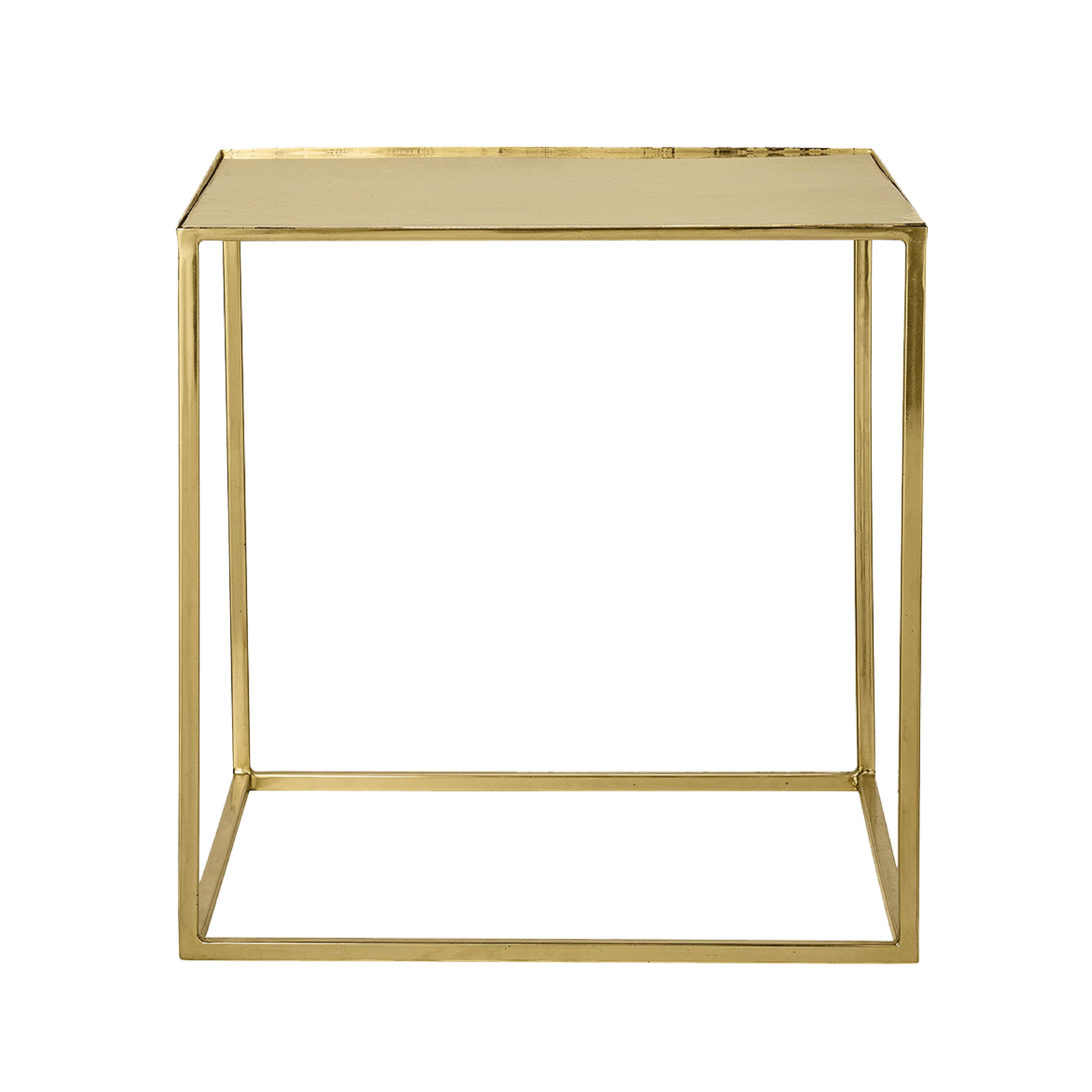 Cube side table in gold