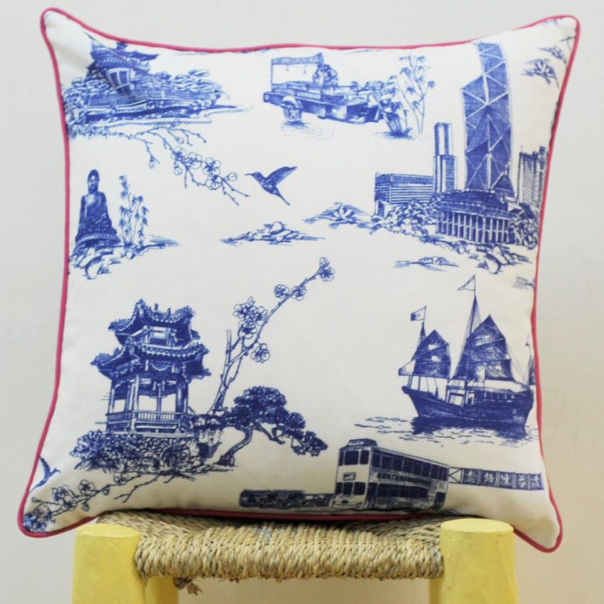 Hong Kong Blue Square Cushion cover